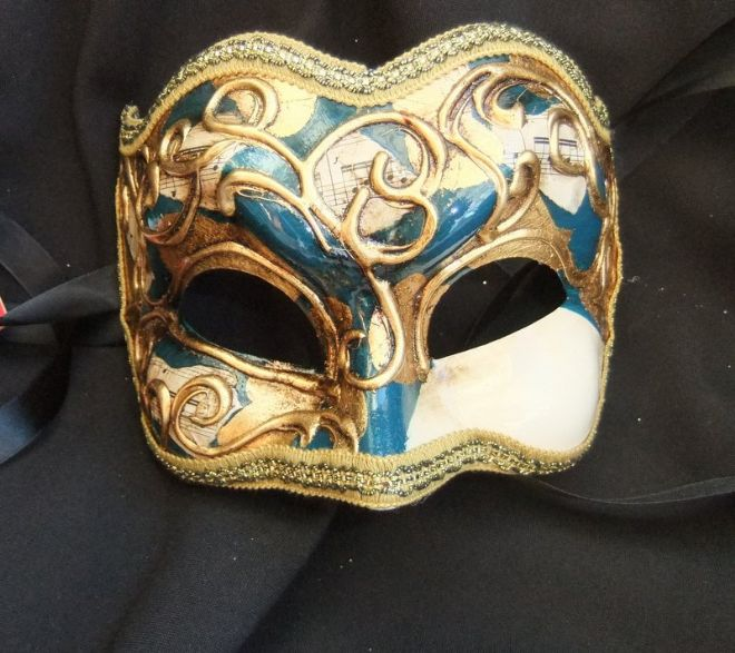 Genuine Venetian Blue & Gold Joker half Mask (a